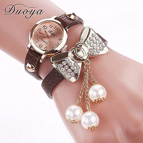 Vestito dalle donne braccialetto dell'orologio Nusey (TM) Duoya marca modo caldo dell'arco di farfalla perla casual in pelle monili poco costosi Elettronica Guarda XR533 - Nero D'argento Dei Monili