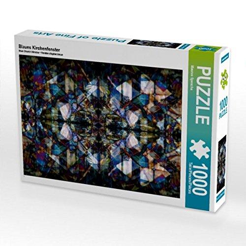 Blaues Kirchenfenster 1000 Teile Puzzle quer -
