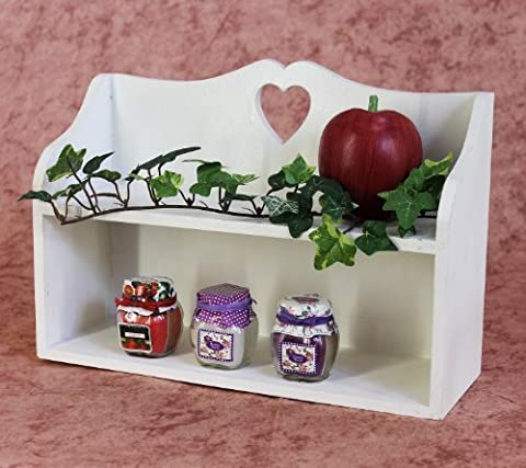 12048 Mini Shelf / Jewellery Display Shelf / Spice Rack with Heart-Shaped Cut-Out Shabby Chic / Country Style 35 cm White