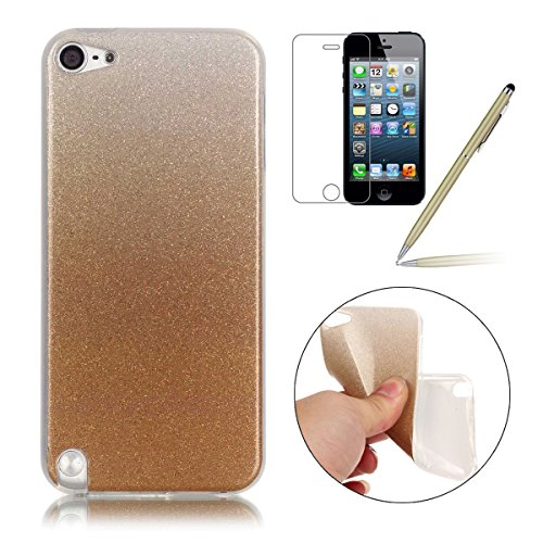 Preisvergleich Produktbild iPod Touch 5 Case,iPod Touch 6 Hülle - Felfy Apple iPod Touch 5/6 Ultra Slim Ultradünn Case Soft Gel Flexibel TPU Silikonhülle mit Bling Sternchen Gradient Farbe Design Protective Scratch Resistant Bumper Case Back Cover (Golden)+ 1x Screen Protector + 1x Golden Stylus