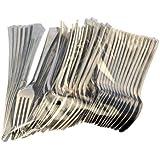 Ardisle 240 piezas de plástico plateado metálico tenedores de fiesta cucharas juego de cubiertos desechables Picnic barbacoa 96 tenedores cuchillos cucharas de 96