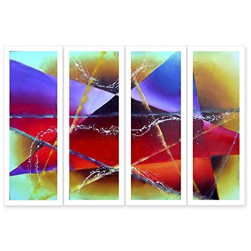 JH Lacrocon Pinturas Abstractas a Mano 4 Piezas - Total 120X90 cm Sobre Lienzo Enrollado Decoración Pared para Salón - Colorido Simbolismo Patrón Geométrico