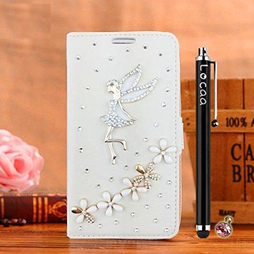 Locaa(TM) For Apple IPhone SE IPhoneSE 5SE 3D Bling Case Coque Cadeaux Noël Fait Main Cuir Qualité Housse Chocs Retour Bumper Cas Couverture Protection Cover Shell [Série Couleur 1] Blanc - Love Blanc - Fleur ange