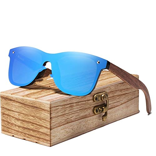 LAOBIAOZI Herren Sonnenbrille Polarisierte Walnussholz Spiegel Objektiv Sonnenbrille Frauen Markendesign Bunte Schattierungen Handgefertigt (Lenses Color : Blue Walnut Wood)