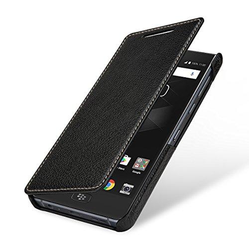 StilGut Book Type Lederhülle für BlackBerry Motion. Seitlich klappbares Flip-Case aus Echtleder, Schwarz