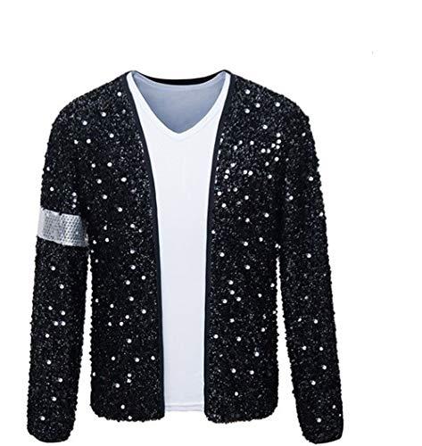 Shuanghao Erwachsene Kind TOP Michael Jackson Jacke Billie Jean Jacke Tanz Cosplay Jackson Kostüm (Give Glove) (H:175-190cm W:78-95kg, Erwachsene Jacke)