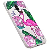 MoreChioce kompatibel mit Huawei Mate 9 Pro Hülle,kompatibel Huawei Mate 9 Pro Transparent Hülle,Kreativ Blumen Flamingo Muster Mädchen Stoßfest Handyhülle Kristall TPU Flexible Gel Bumper