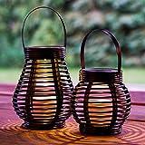 GloBrite - Set di 2 lanterne da giardino a LED ad energia solare, rotonde e alte