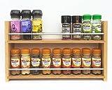 SilverAppleWood Eiche massiv Spice Rack–nimmt bis zu 18Gewürz- und Kräuter Gläser–Tiefe Kapazität für größere Gläser und Flaschen–2Ebenen/Regalen