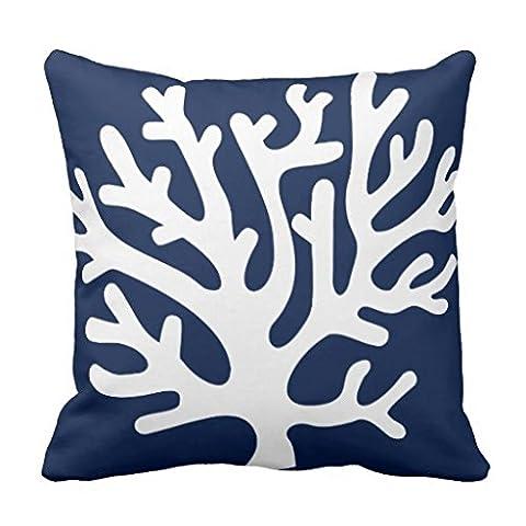 Accent Kissen Bezug für Sofa Deko 18x 18Kissen Leinwand Sea Coral Überwurf Kissen in Marineblau und Weiß Werfen Kissenbezug für Couch
