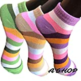 A'SHOP Women's Cotton Soft Socks with Colourful Stripes (Multicolour) -Set of 3 Pairs