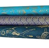 Maharanis handgeschöpftes Papier Lokta Daphne Papier zum Verpacken, Basteln und mehr 3er Set türkis-blau-petrol-gold