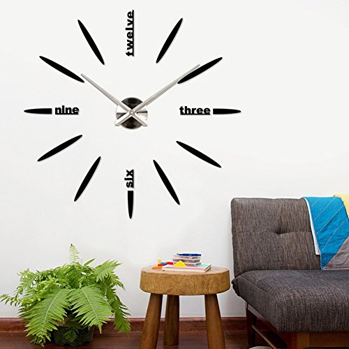 Fairlove Pendule Murale Moderne Métallique Horloge Design Géante Grande Taille Moderne Ronde Avec Lettres Anglais Artistiques Pour Décoration Salon Bureau Maison Noir
