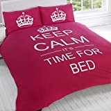 "Just Contempo - Juego de funda nórdica y funda de almohada (algodón y poliéster), diseño con texto ""Keep calm It's time for bed"", polialgodón, rosa, King Size (cama doble)"