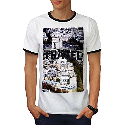 wellcoda Reise Paris Stadt Mode Männer T-Shirt Zurück Reise Grafikdesign-T-Stück (Paris Stück Center)