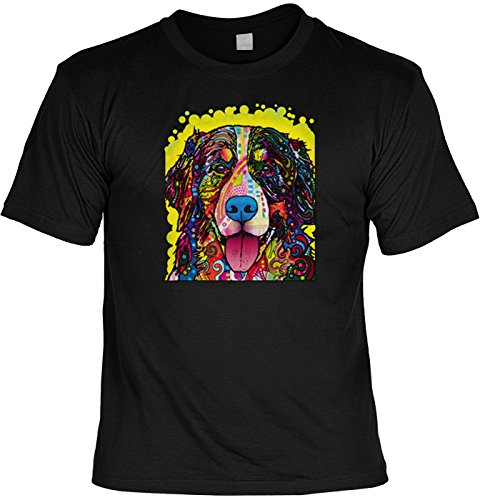 Berner Sennenhund Hunde T-Shirt - Neon Pop Art Motiv - Bernese Mountain Dog buntes Hunde Portrait - Shirt in schwarz Gr: S : ) (Pop-art-hund T-shirt)