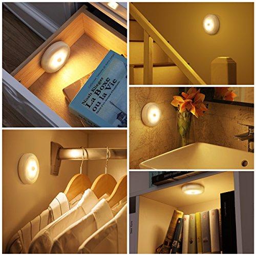AMIR Nachtlicht mit Bewegungsmelder, LED Bewegungsmelder Licht, Auto ON/OFF Nachtlicht, Batterie-Powered Treppen Licht, Schrankleuchten, Schrank Lichter für Flur, Schlafzimmer, Küche (Warmes Weiß) - 2