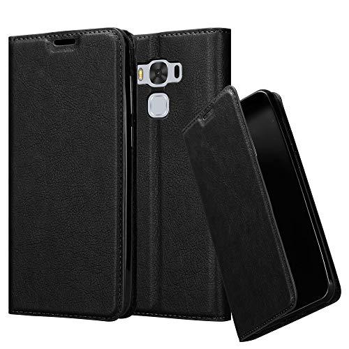 Cadorabo Hülle für Asus ZenFone 3 MAX (5,5 Zoll) - Hülle in Nacht SCHWARZ - Handyhülle mit Magnetverschluss, Standfunktion und Kartenfach - Case Cover Schutzhülle Etui Tasche Book Klapp Style Klapp-handy