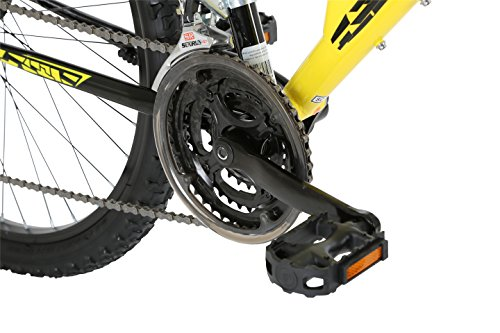 51xUOes%2BHJL - Barracuda Unisex Draco Ds Wheel 18 Inch Full Suspension Frame Mountain Bike, Yellow, 26