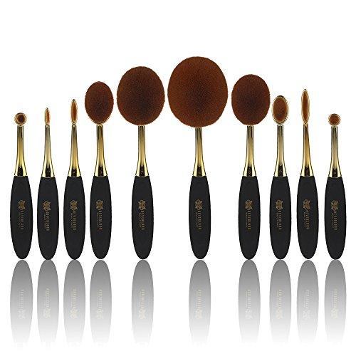 Neverland Oval Maquillage Brush Set, 10 Piece Professional Fondation Concealer Brush Face poudre creme cosmetiques brosse, brosse a dents brosses courbe de maquillage pour le visage et les yeux.