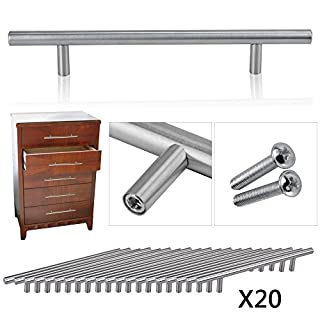 OGORI 20 x Brushed Stainless Steel T Bar Handles Kitchen Cup Board Cabinet Door Knob (128 hole centres / 200mm long)