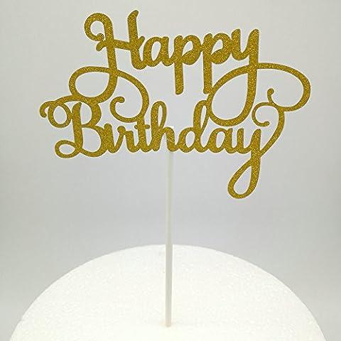 DOOXOO Gold Paper Glitter Cake Topper Happy Birthday Cake Topper Party Supplies Birthday Party Decoration Kids (Set of 2)