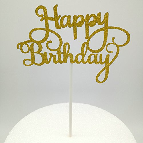 dooxoo New Golden/Silber Papier Glitzer Kuchen Topper Happy Birthday Cake Topper Party Supplies Geburtstag Party Dekoration Kinder - Gold Happy CT