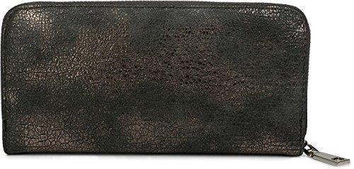 styleBREAKER Geldbörse mit genarbter Oberfläche im Antik Metallic Look, umlaufender Reißverschluss, Portemonnaie, Damen 02040091, Farbe::Dunkelgrau / Rosegold