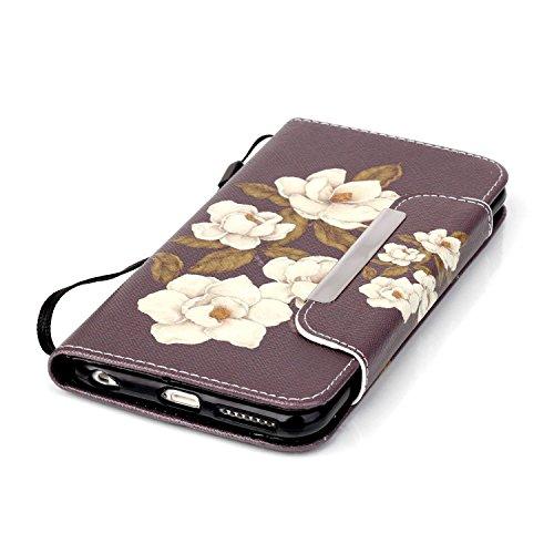 iPhone 6S Plus Hülle, iPhone 6 Plus Hülle, ISAKEN iPhone 6S Plus /6 Plus Hülle Muster, Handy Case Cover Tasche for iPhone 6S Plus / 6 Plus, Bunte Retro Muster Druck Flip Cover PU Leder Tasche Case Sch Vier Blumen