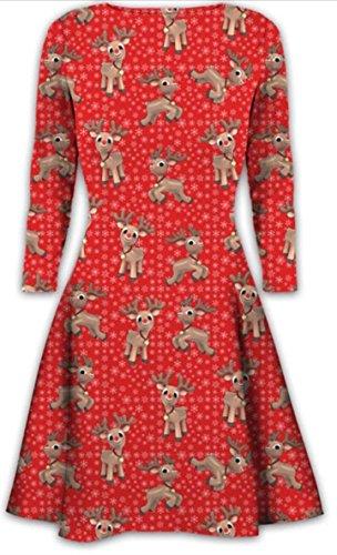 Nouveau Femmes Mini Robe de Noël Arbres de Noël Père Noël bonhomme de neige de renne Rudolph Bells cadeau Présent Ladies Balançoire Haut All over baby reindeer red
