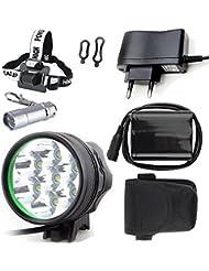 Lampe avant Phare avant pour vélo / Eclairage Avant Vélo / Enduro éclairage avant CREE XM-L T6 rechargeable étanche de 3 mode de lumière + Batterie 6* 18650 Batteries Inclus + Chargeur