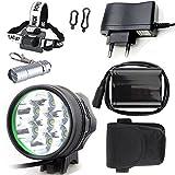WiiFire Scheinwerfer 7X Cree XM-L U2 9800 Lumen Fahrradbeleuchtung Stirnlampe Frontlichter Taschenlampe mit 8.4V 8800mAh Akku Ladegerät +Stirnband für Kopflampe & LED Mini Taschenlampe