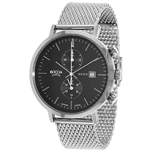 Boccia Herren Chronograph Quarz Uhr mit Edelstahl Armband 3752-02