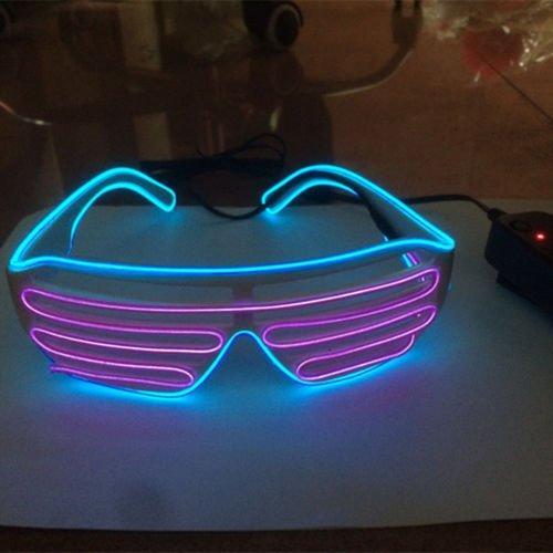 song EL Wire LED Blinkie Brille Leuchtbrille Partybrille Karneval Xmas (1 Paar lila blau) (Lila El Wire)