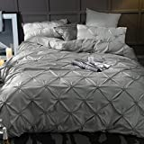 Unimall Luxury 4 Pcs King Size Duvet Cover Sets Silky Satin Bedding Include 1 Duvet Cover 1 Flat Sheet 2 Pillowcases,Grey