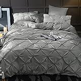 Unimall Luxuriöse Bettwäsche Sommer 220 x 240 cm mit elegant fränzösisch Stichblumen für Doppelbett innenseite aus Baumwolle, Dunkelsilber