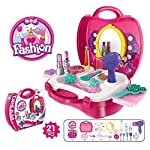 KidzBell Beauty Make Up Case and Cosmetic Set Suitcase, Durable Kit Hair Salon with 21 Pcs Makeup Accessories for...