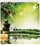 Abakuhaus Duschvorhang, Zen Garten Thematisiertes Dekor Kieselsteine Jasmin Blume Japanische Entspannungs Bad Bamboos, Blickdicht aus Stoff mit 12 Ringen Waschbar Langhaltig Hochwertig, 175 X 200 cm