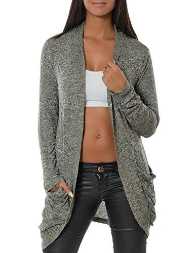 Damen Cardigan Strickjacke Pullover (weitere Farben) 13367, Größe:One Size;Farbe:Steingrau