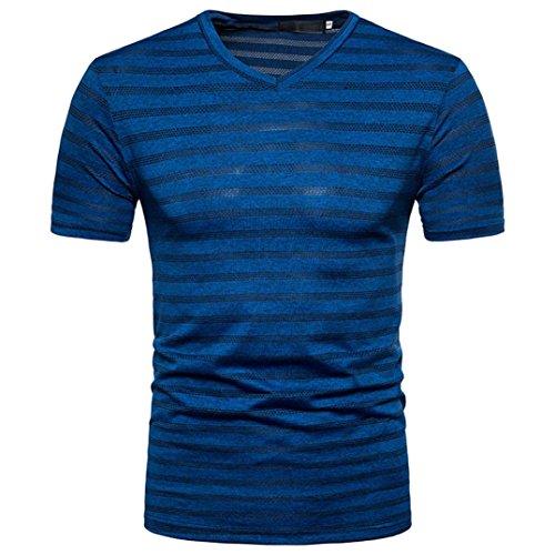 MRULIC Herren Sommer Casual Streifen-Print V-Ausschnitt Pullover T-Shirt Top Bluse (2XL, - Kleid Leopard Pullover Print