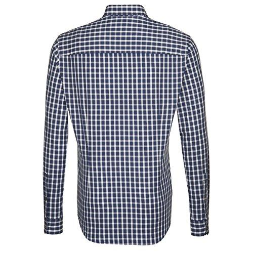 Seidensticker Herren Langarm Hemd Schwarze Rose Slim Fit Washed blau / weiß kariert 442100.17 Blau