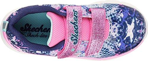 SKECHERS 82058N silver multi grigio rosa scarpe bambina strappi rosa glitter blau - gemustert
