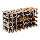 GOPLUS 40 Bouteillles Etagère à Vin Casier à Bouteille Modulable en Bois de Pin 102,5 x 24 x 33 cm Grande Capacité de Charge