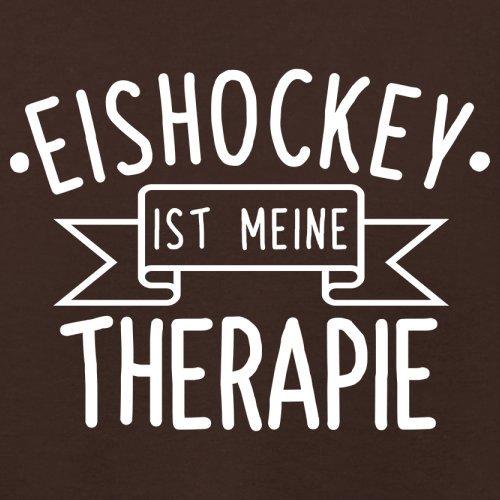 Eishockey ist meine Therapie - Damen T-Shirt - 14 Farben Dunkles Schokobraun
