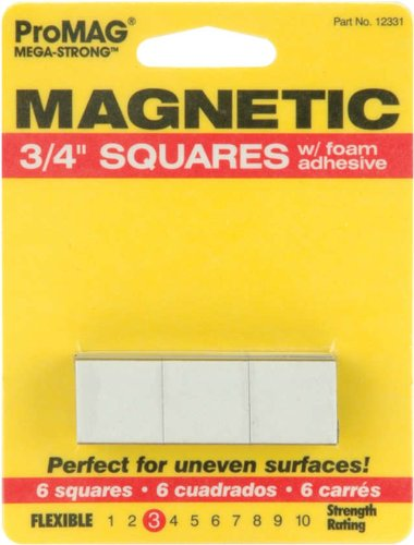 ProMag Square Magnets W/Foam Adhesive-.75