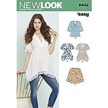 patrón de Costura Look 6452 un Patrones de Costura para Blusas con corpiño y Dobladillo variaciones