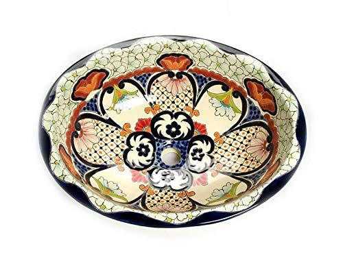 JUANETTA - Buntes Mexikanisches Waschbecken aus Keramik, Talavera Waschbecken, Einbauwaschbecken, handbemalte