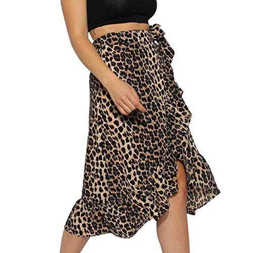 Yvelands Neue Midi Rock Damen High Fashion Krawatte Bow Ruffle Hem Leopard Rüschen Wickel ()
