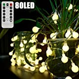 WINGLESCOUT Garland Lights, 10M 80 LED String Lights 8 Modi Beleuchtung, String Glühlampen mit Kupferdraht wasserdicht für Gärten, Häuser, Hochzeit, Weihnachtsfeier - Warmweiß