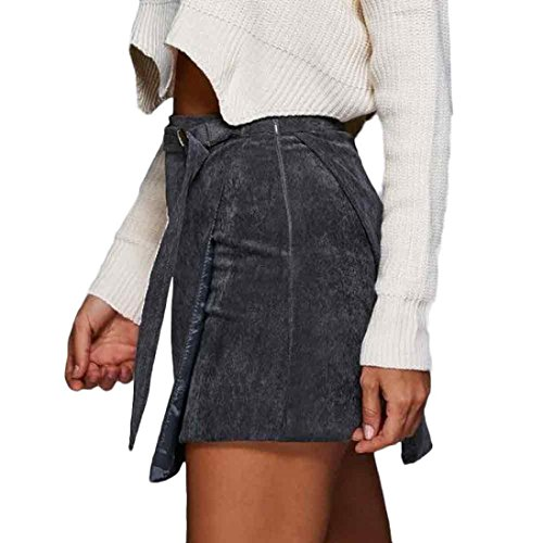 Kingko® Unregelmäßiger Cord Minirock Nahtloser Stretch Tight Short Rock (S) (Cord-jacke Taille,)